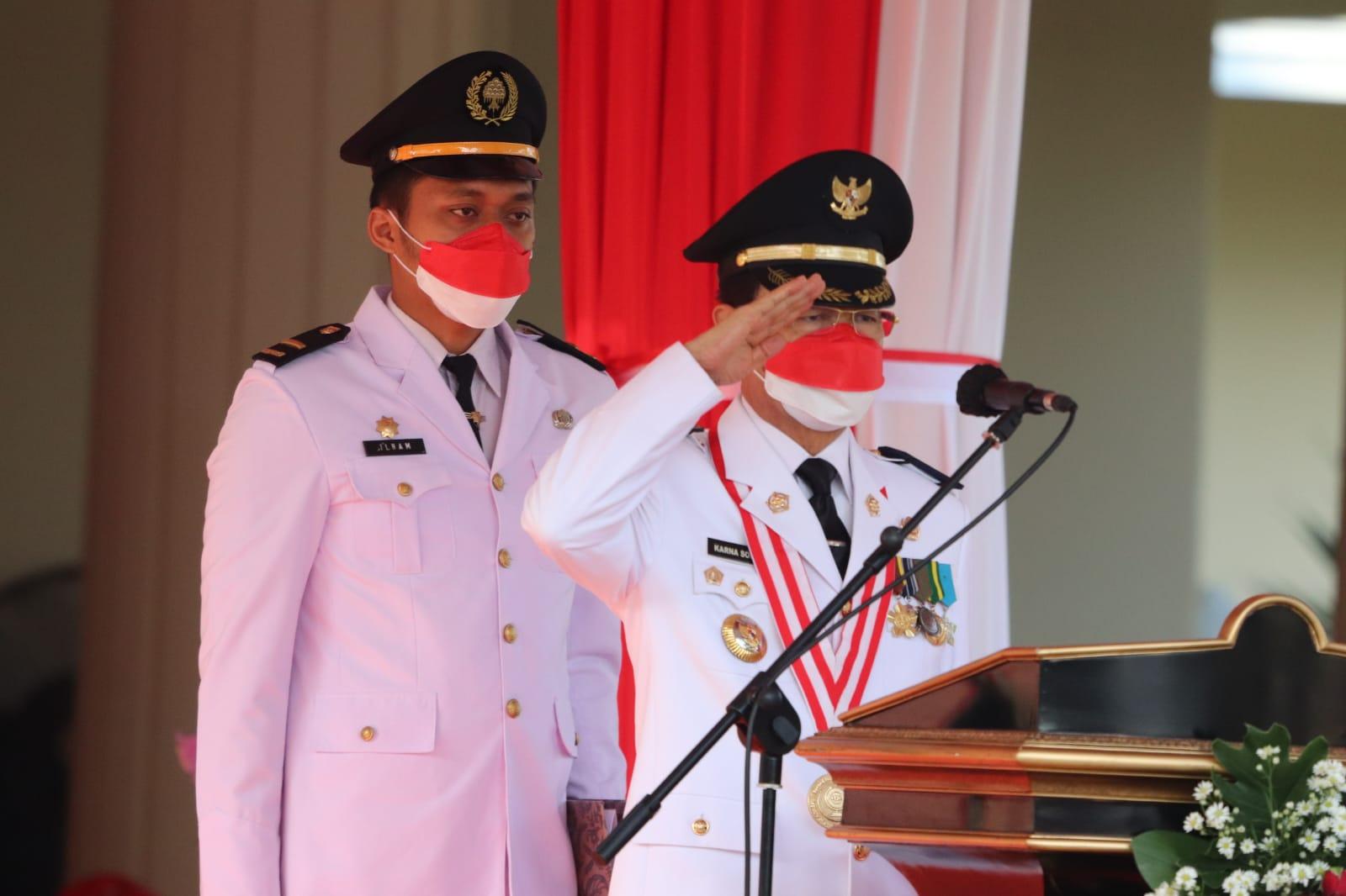 Upacara Peringatan HUT Kemerdekaan Republik Indonesia ke-76 tahun 2021 di Lingkungan Pemkab Majaleng